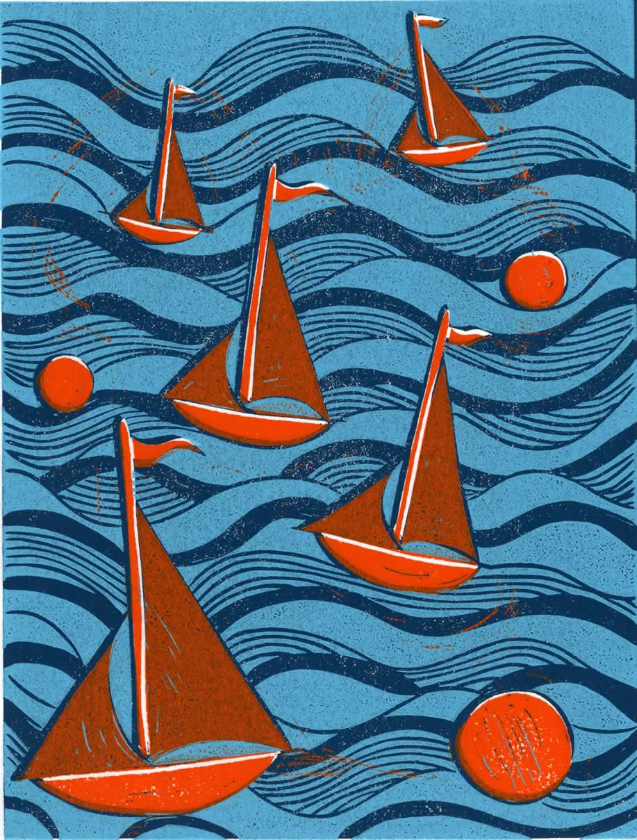 Boats and Buoys Giclee