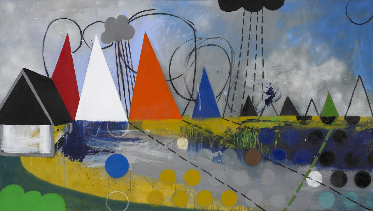 LANDSCAPE NOON (after The Hay Wain by Constable). Acrylic paint spray paint and charcoal on canvas. 90x160cm.