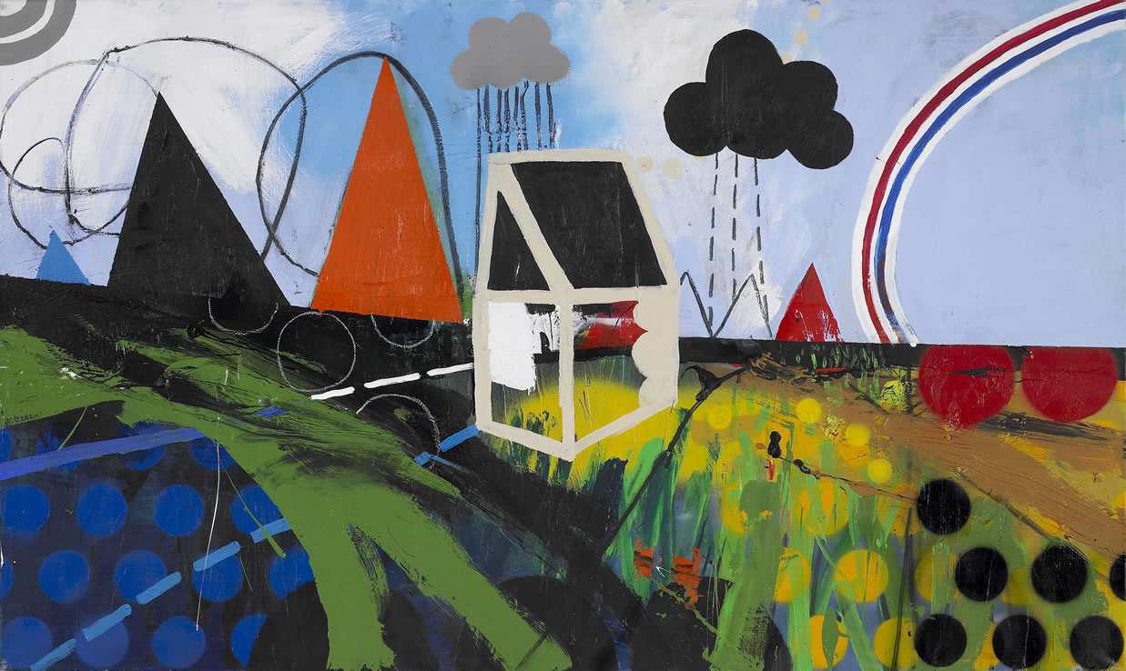 SHED WITH A RAINBOW (after Cottage At east Bergholt by Constable). Acrylic paint spray paint and charcoal on canvas. 105X82cm