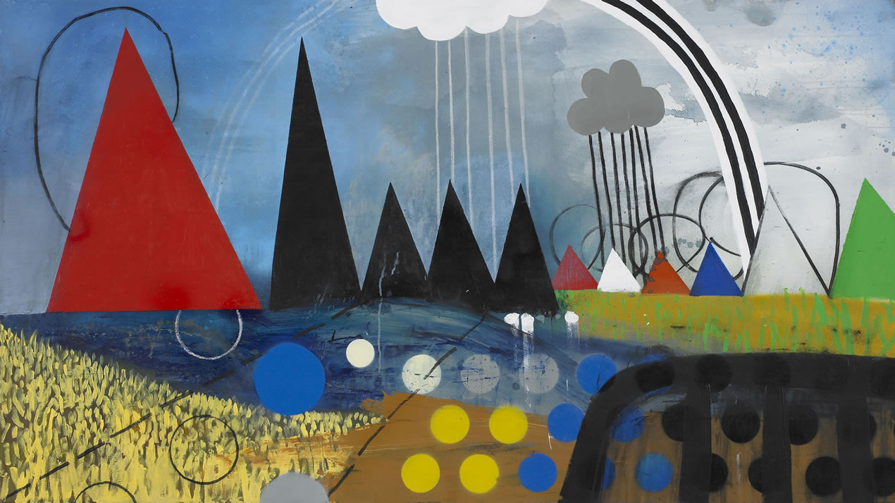 UPLAND (After Salisbury cathedral From The Meadows). Acrylic paint spray paint and charcoal on canvas. 90x160cm. 2017.
