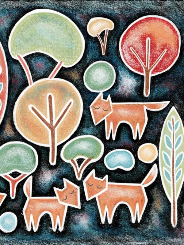 Four Foxes in the Wood Giclee